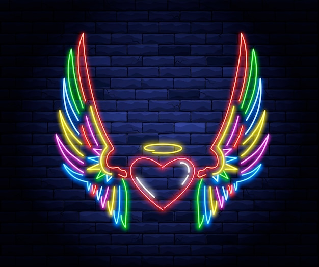 Освещенное неоновое сердце с крыльями ангела и знаком ореола