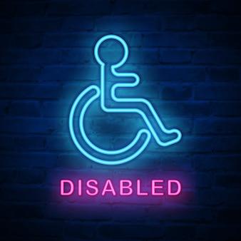 Illuminated neon light icon disabled wheel chair