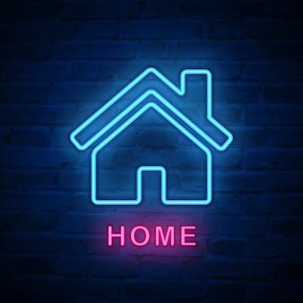 조명 된 네온 불빛 아이콘 집 집