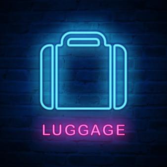 Illuminated neon light icon luggage