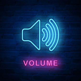 Illuminated neon light icon volume speaker