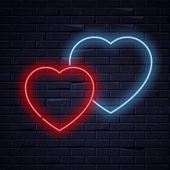 조명 된 네온 사랑 마음
