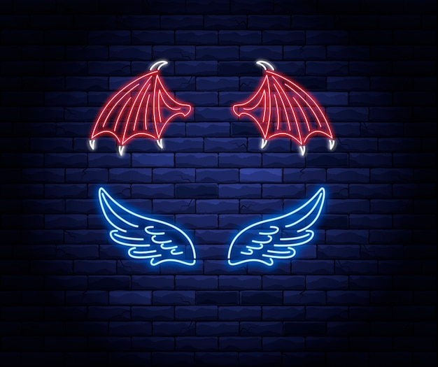 Illuminated neon red devil and blue angel wings sign