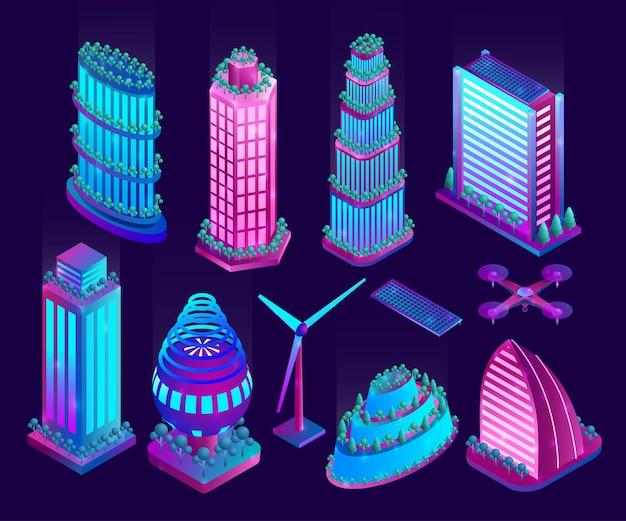 照らされたネオンの高層ビルと未来都市のオブジェクト