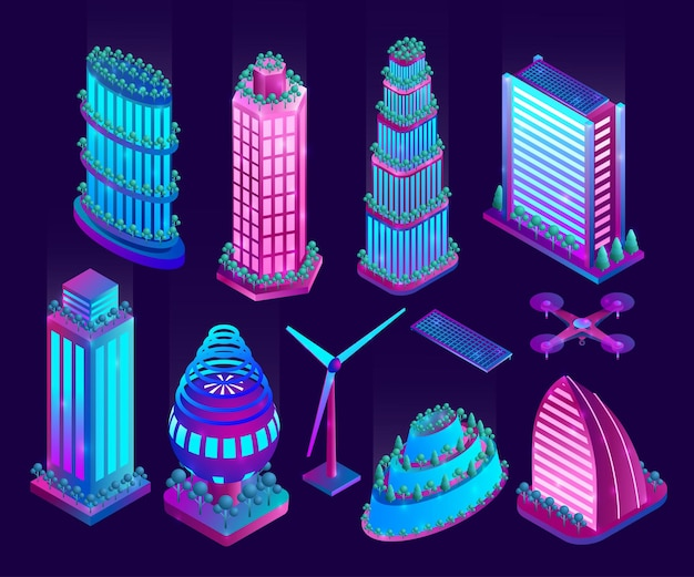 Illuminated neon skyscrapers and objects of futuristic city