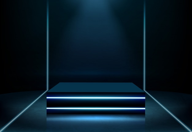 Illuminated neon square podium realistic vector