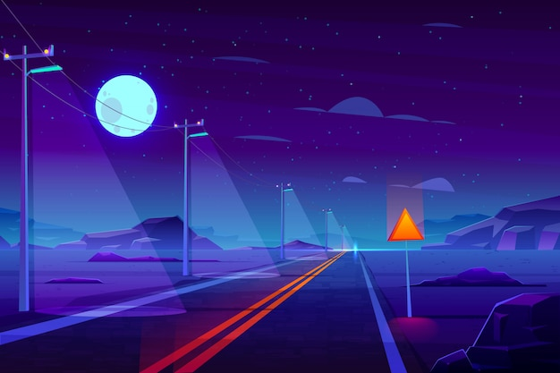 Illuminated at night, empty highway road in desert cartoon