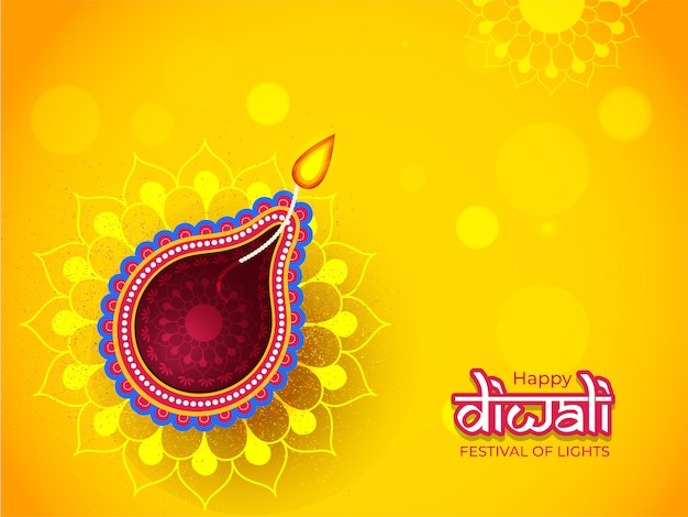 Illuminated oil lamp (diya) for happy diwali celebration can be used as greeting card design.