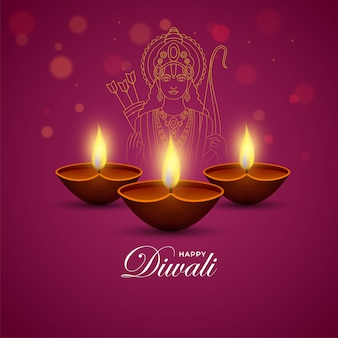 Illuminated oil lamps (diya) with line art lord rama on dark pink background