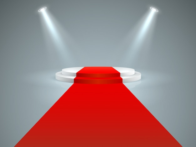 Illuminated podium. floor red carpet to white podium, spotlights. hollywood movie premiere, vip celebrity lifestyle