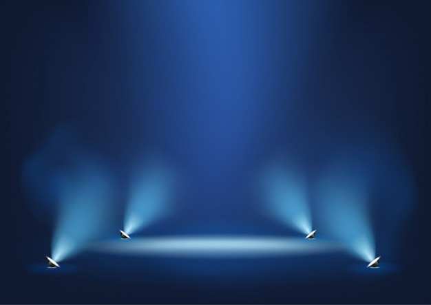 Illuminated stage with bright lights template for presentation