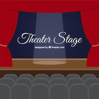 조명 된 극장 무대 배경