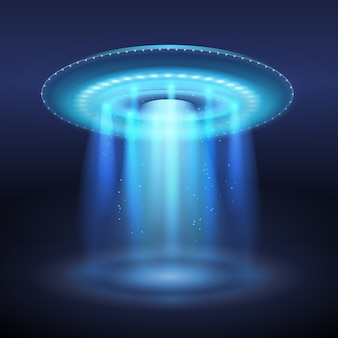 Illuminated ufo space ship with blue light portal illustration