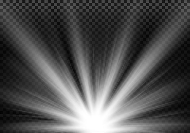 透明な背景に照明された白色光
