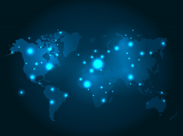 Illuminated world map with glowing dots