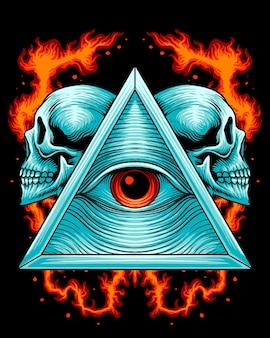 Треугольник иллюминатов с логотипом в виде головы черепа
