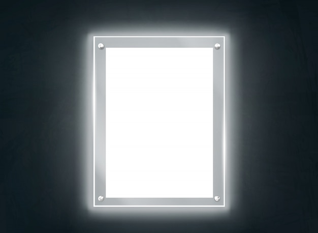 Illuminating methacrylate plate frame realistic vector