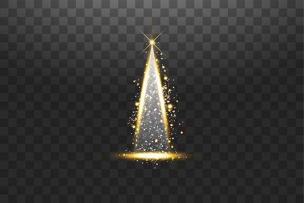イルミネーションライト透明な背景に分離された光沢のあるクリスマスツリー明けましておめでとうございますメリークリスマスの休日のお祝いのシンボルとして白と金色のクリスマスツリー明るい光の装飾