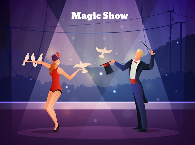 Illusionist and his assistant flat composition Free Vector
