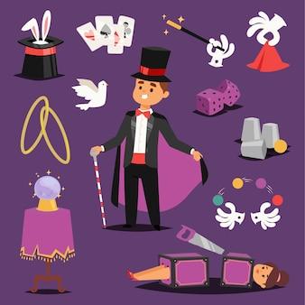 Иллюзионист волшебный мужчина и пила женщина на сценах иконы кролик шляпа мяч фантазия колдовство магический театр