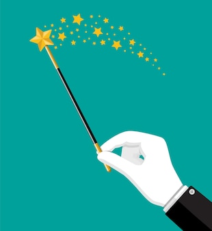 Illusionist magical stick with sparkle. miracle wizard wand tool rod in hand. circus, magical show, comedy.
