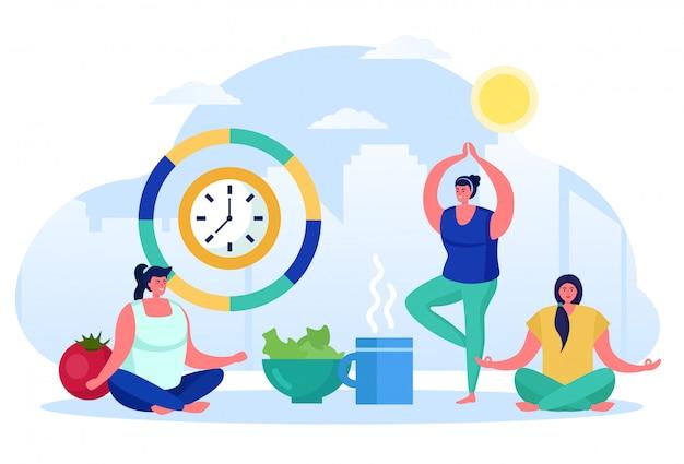 Утренняя йога, азиатский стиль физической подготовки, женский персонаж делают физические упражнения, изолированные на белом, плоский вектор illusration.