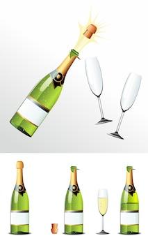 Бутылка шампанского пробка и бокалы. illusration