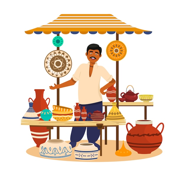 Illustartion of ceramic street shop with seller. painted jars, bowls, tea pots, dishes, vases, amphora. asian man. trade fair.  cartoon .