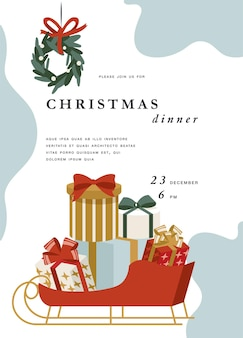 Illustartion design for christmas greetings card or party invitation