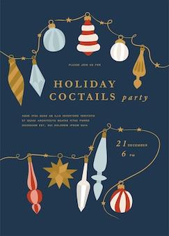 クリスマスのグリーティングカードやパーティーの招待状のillustartionデザイン