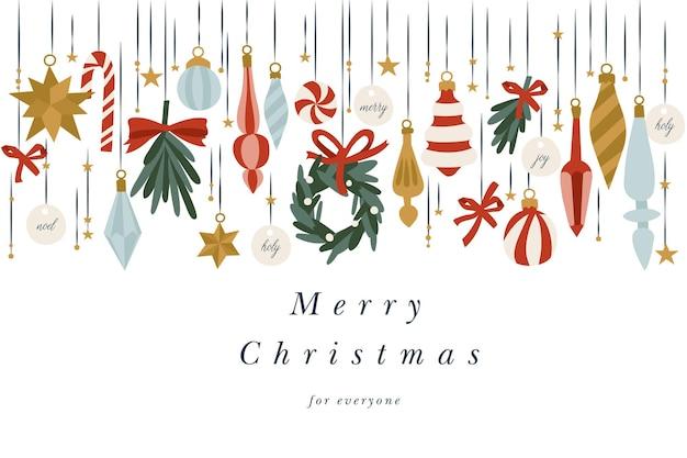 クリスマスグリーティングカードのillustartionデザイン