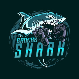 Illustartion mascot logo gaming shark with joy stick
