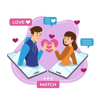데이트 앱 개념의 illustartion