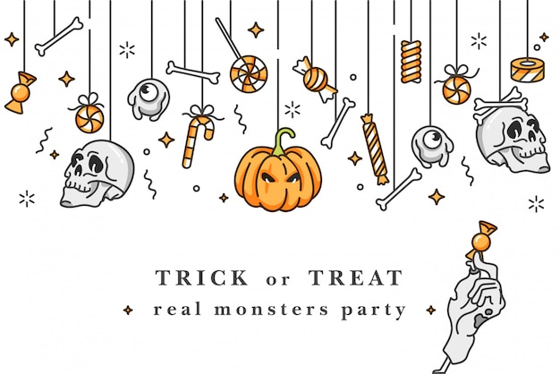 Illustartion set of linear icons for happy halloween. badges and labels for party and fair. trick or treat stickers. background celebration.