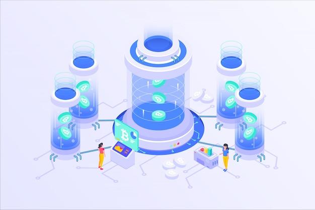 ブロックチェーン暗号通貨ビットコインマイニングオンラインサーバー等尺性ベクトルillustartionデザイン