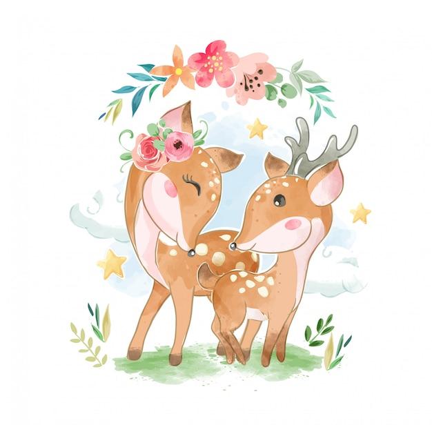 Милая дорогая семья с цветами illustartion