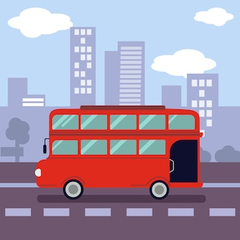 Illustation of a red double decker bus with shape of symbol a city.