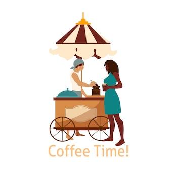 Illustation with coffee trailer