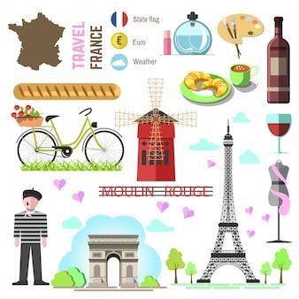 Набор парижских / французских символов и достопримечательностей. франция вектор illustr