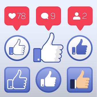 フォロワーのコメントアイコンのような、アイコンのような、上を向ける。ソーシャルネットワークのための要素のセットillustra