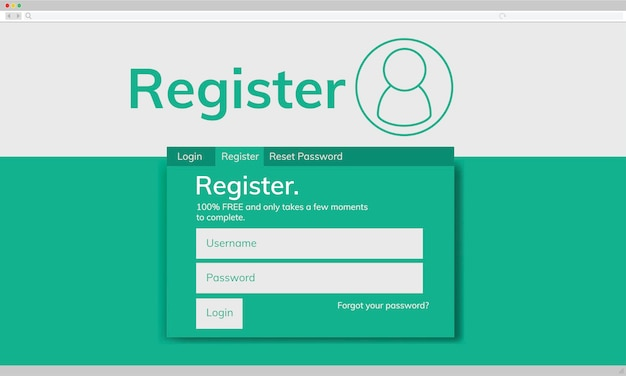 Illustraion of account register template