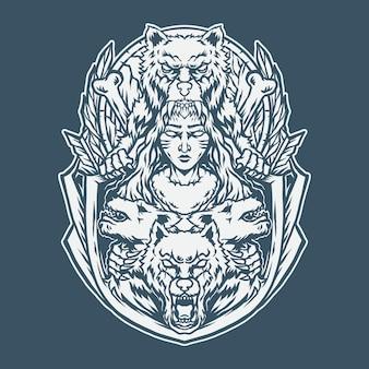 Illustraion брат-волк