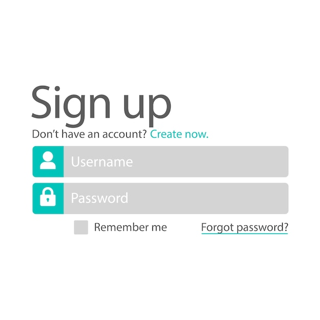 Illustraion of sign up template