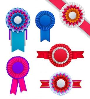 Набор изолированных значков розетки награды реалистичные круглые изображения порядка разного цвета на пустой фон вектор illustraion