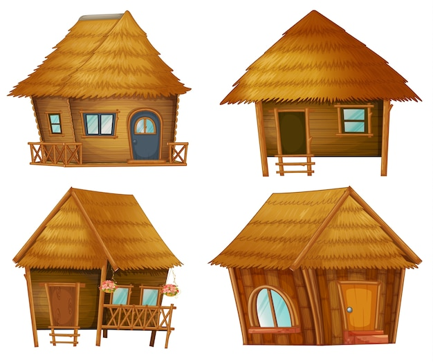 Illustraiton on huts on white background