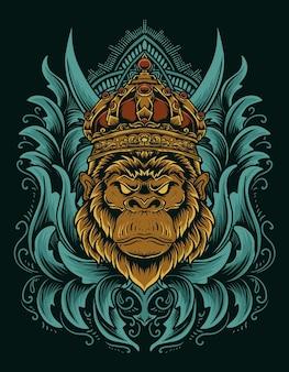 Illustrarion король горилла с винтажным орнаментом