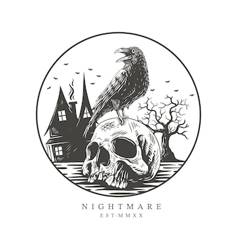 Illustrasion crow on the skull head,nightmare