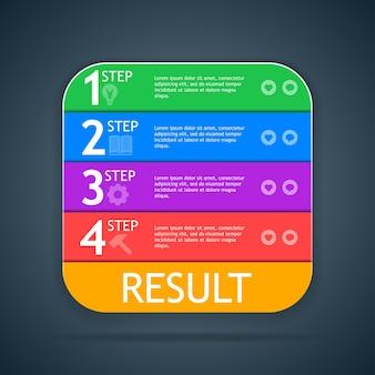 프레젠테이션, 보고서, 웹 사이트 등을위한 단계가있는 아이콘 설명