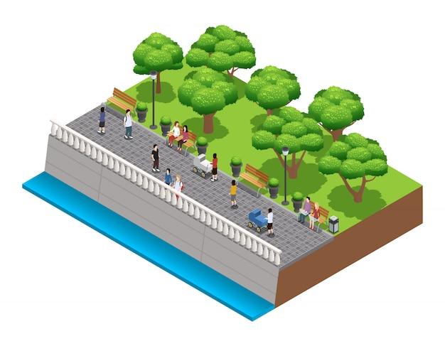 Изометрические озеленение композиция с людьми, идущими по каменной набережной в летнее вектор illustrat