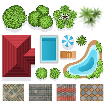 Ландшафтный дизайн сада векторных элементов для плана структуры. архитектурный ландшафтный дизайн illustrat